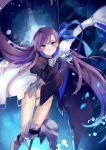 1girl armor armored_boots bangs blue_eyes blue_ribbon boots commentary_request crotch_plate fate/grand_order fate_(series) hair_ribbon highres long_hair long_sleeves looking_at_viewer meltryllis puffy_sleeves purple_hair ribbon sleeves_past_wrists smile solo very_long_hair yorktown_cv-5