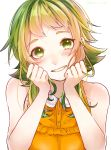 1girl bare_shoulders blush clenched_hands collar commentary frilled_shirt frills green_eyes green_hair gumi hands_on_own_cheeks hands_on_own_face head_rest highres looking_at_viewer mai_mugi open_mouth orange_shirt shirt short_hair_with_long_locks shoulder_blush sidelocks simple_background sleeveless sleeveless_shirt smile solo talking twitter_username upper_body vocaloid white_background white_collar
