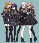 4girls :d ;d black_dress black_footwear black_gloves black_jacket black_legwear black_nails black_shirt black_skirt blue_background blush boots breasts brown_eyes brown_hair closed_mouth commentary_request cropped_jacket cross-laced_footwear dress ear_piercing earrings fingerless_gloves fingernails fushimi_gaku garter_straps genderswap genderswap_(mtf) gloves green_eyes grey_eyes hair_ornament hairclip half_gloves hand_up head_tilt headset high_heel_boots high_heels jacket jewelry kanae_(nijisanji) kenmochi_touya kuzuha_(nijisanji) lace-up_boots long_hair long_sleeves looking_at_viewer medium_breasts multiple_girls nail_polish nijisanji o-ring one_eye_closed open_mouth pantyhose partly_fingerless_gloves piercing pleated_skirt purple_hair red_eyes see-through shirt silver_hair simple_background single_thighhigh skirt smile standing thigh-highs v very_long_hair virtual_youtuber yamabukiiro