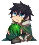 1boy bangs black_gloves black_hair boots cape chibi d: eyebrows_visible_through_hair fingerless_gloves food fruit fur_trim gloves green_cape green_eyes green_pants hair_between_eyes high_collar holding holding_food holding_fruit indian_style iwatani_naofumi maho_(boku_no_kao_wo_otabeyo) male_focus open_mouth pants sidelocks simple_background sitting tate_no_yuusha_no_nariagari watermelon white_background