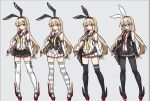 1girl alternate_costume alternate_hairstyle animal_ears black_gloves black_legwear blonde_hair breasts brown_eyes elbow_gloves fingerless_gloves glasses gloves headband kantai_collection long_hair low_twintails multiple_views navel necktie pantyhose pleated_skirt rabbit_ears red_neckwear rudder_footwear sailor_collar shimakaze_(kantai_collection) shoes sidelocks skirt sleeveless small_breasts sparkle striped striped_legwear terras thigh-highs twintails variations vest white_gloves white_legwear zettai_ryouiki