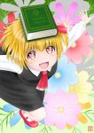1girl :d bangs black_skirt black_vest blonde_hair book book_on_head bosutonii commentary_request cravat eyebrows_visible_through_hair floral_background foreshortening from_above hair_ribbon highres looking_at_viewer object_on_head open_mouth outstretched_arms red_eyes red_footwear red_neckwear ribbon rumia short_hair signature skirt smile solo spread_arms standing standing_on_one_leg touhou vest