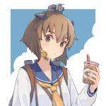 1girl bangs blush brown_eyes brown_hair bubble_tea closed_mouth commentary_request cup dress drink headgear holding holding_cup kantai_collection long_sleeves neckerchief rigging sailor_collar sailor_dress short_hair signature solo speaking_tube_headset ueno_(sakumogu-029) upper_body yellow_neckwear yukikaze_(kantai_collection)