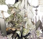 2boys :d blonde_hair braid cape caro_(granblue_fantasy) closed_eyes crossed_legs granblue_fantasy hat lamp multiple_boys multiple_persona musical_note open_mouth paintbrush painting painting_(object) palette plant sheet_music sitting smile suou