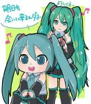 2girls aqua_eyes aqua_hair aqua_neckwear bare_shoulders big_head black_legwear black_skirt chair commentary detached_sleeves eighth_note grey_shirt hair_brushing hair_ornament hands_on_own_knees hatsune_miku headphones hekopon highres holding_brush long_hair mikudayoo multiple_girls musical_note necktie open_mouth shirt sitting sketch skirt sleeveless sleeveless_shirt smile standing thigh-highs translated twintails very_long_hair vocaloid zettai_ryouiki