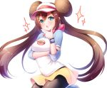 1girl :o black_legwear blush breasts brown_hair commentary_request double_bun green_eyes kisukekun legwear_under_shorts long_hair looking_at_viewer medium_breasts mei_(pokemon) open_mouth pantyhose pokemon pokemon_(game) pokemon_bw2 pokemon_masters raglan_sleeves shorts simple_background solo sparkle thinking twintails visor_cap watch white_background yellow_shorts