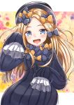 1girl abigail_williams_(fate/grand_order) admjgdme bangs black_bow black_dress black_headwear blonde_hair blue_eyes blush bow dress fate/grand_order fate_(series) forehead hair_bow hat highres long_hair long_sleeves looking_at_viewer open_mouth orange_bow parted_bangs polka_dot polka_dot_bow ribbed_dress sleeves_past_fingers sleeves_past_wrists smile solo