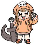 1girl anchor backpack bag bangs bike_shorts bkub black_gloves blush boots brown_eyes brown_hair chibi eyebrows_visible_through_hair fingerless_gloves full_body gloves guilty_gear guilty_gear_2020 hat hood hoodie long_hair long_sleeves may_(guilty_gear) open_mouth orange_headwear orange_hoodie pocket simple_background skull skull_and_crossbones solo standing weapon white_background