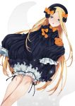 1girl :o abigail_williams_(fate/grand_order) bangs black_bow black_dress black_headwear blonde_hair bloomers blue_eyes bow bug butterfly commentary_request dress dutch_angle fate/grand_order fate_(series) forehead hair_bow hat highres insect karen_ngao long_hair long_sleeves object_hug orange_bow parted_bangs parted_lips polka_dot polka_dot_bow simple_background sleeves_past_fingers sleeves_past_wrists solo stuffed_animal stuffed_toy teddy_bear tentacles underwear very_long_hair white_background white_bloomers