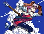 1girl :3 bass_guitar boots calilo clouds day flcl goggles goggles_on_head haruhara_haruko highres instrument looking_at_viewer pink_hair rickenbacker sky smile solo yellow_eyes