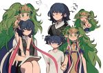 2girls :3 alternate_costume blue_eyes blue_hair book braid byleth_(fire_emblem) byleth_(fire_emblem)_(female) closed_eyes closed_mouth fire_emblem fire_emblem:_three_houses funyanrinpa green_eyes green_hair hair_ornament highres long_hair manakete medium_hair multiple_girls open_mouth pointy_ears short_sleeves simple_background sitting sothis_(fire_emblem) tiara twin_braids white_background