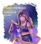 1girl armlet arms_up bangs birthday blue_hair blush character_name commentary_request dated dress english_text hair_between_eyes hair_ornament happy_birthday long_hair looking_at_viewer love_live! love_live!_school_idol_festival love_live!_school_idol_project navel simple_background sitting smile solo sonoda_umi strapless strapless_dress veil yellow_eyes