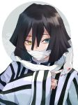 animal bandage_on_face bangs commentary_request eyebrows_visible_through_hair fingernails green_eyes hair_between_eyes heterochromia highres kayanogura kimetsu_no_yaiba long_sleeves red_eyes sleeves_past_wrists snake striped upper_body vertical_stripes white_background white_snake wide_sleeves yellow_eyes