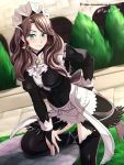 1girl absurdres apron bridal_gauntlets brown_hair dorothea_arnault earrings fire_emblem fire_emblem:_three_houses fire_emblem_fates green_eyes hand_on_hip highres jewelry maid maid_apron maid_headdress table tree vilde_loh_hocen