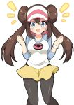 1girl :d bangs black_legwear blue_eyes blush breasts brown_hair commentary_request double_bun eyebrows_visible_through_hair hair_between_eyes hands_up legwear_under_shorts long_hair long_sleeves massala medium_breasts mei_(pokemon) notice_lines open_mouth pantyhose pokemon_masters shirt short_shorts shorts sidelocks simple_background smile solo twintails v-shaped_eyebrows very_long_hair visor_cap white_background white_headwear white_shirt yellow_shorts