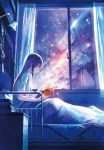 1girl bangs bed bed_sheet black_hair book brown_eyes curtains eyebrows_visible_through_hair from_side full_body galaxy hanekoto highres holding holding_book indoors long_hair nebula night night_sky original reading shirt short_sleeves sidelocks sitting sky solo star_(sky) starry_sky white_shirt window