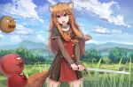 1girl animal_ears artist_name balloon_(tate_no_yuusha_no_nariagari) bangs black_dress blue_sky brown_hair clouds collar cowboy_shot day dress grass hair_between_eyes highres hill holding holding_sword holding_weapon intruder251 long_hair long_sleeves open_mouth outdoors raccoon_ears raccoon_tail raphtalia red_eyes short_dress short_sleeves sidelocks sky solo standing sword tail tate_no_yuusha_no_nariagari tree weapon wrist_cuffs