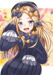 1girl :d abigail_williams_(fate/grand_order) admjgdme bangs black_bow black_dress black_headwear blonde_hair blue_eyes blush bow commentary_request dress eyebrows_visible_through_hair fate/grand_order fate_(series) forehead hair_bow hand_up hat highres long_hair long_sleeves looking_at_viewer open_mouth orange_bow parted_bangs polka_dot polka_dot_bow revision sleeves_past_fingers sleeves_past_wrists smile solo upper_teeth very_long_hair