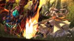 1girl arm_shield bangs blurry blurry_background braid breastplate breasts brown_footwear brown_hair brown_legwear closed_mouth commentary_request depth_of_field dutch_angle eyebrows_visible_through_hair fire flower_knight_girl forest gauntlets hair_between_eyes high_heels holding holding_sword holding_weapon kinrenka_(flower_knight_girl) long_hair looking_away medium_breasts mizunashi_(second_run) monster nature outdoors ponytail profile red_eyes scorpion shield shoes solo standing standing_on_one_leg sword thigh-highs very_long_hair weapon
