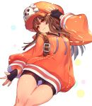 1girl :3 bike_shorts black_gloves blush brown_hair closed_mouth commentary_request fingerless_gloves gloves guilty_gear guilty_gear_2020 hat long_hair long_sleeves looking_at_viewer may_(guilty_gear) orange_eyes orange_headwear oro_(sumakaita) skull_and_crossbones smile solo thighs white_background