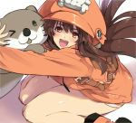1girl ;d backpack bag brown_eyes brown_hair coat guilty_gear_2020 hat hug jako_(toyprn) long_hair may_(guilty_gear) one_eye_closed open_mouth orange_coat orange_headwear otter sitting skull_and_crossbones smile solo thighs wariza