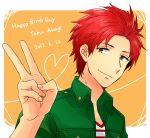 1boy akagi_toma gen'ei_ibunroku_sharp_fe happy_birthday heart orange_eyes redhead saichi_(meme+) solo upper_body v white_background