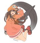 1girl :d anchor backpack bag black_gloves brown_hair fingerless_gloves full_body gloves guilty_gear guilty_gear_2020 hat legs long_hair long_sleeves looking_at_viewer may_(guilty_gear) open_mouth orange_headwear pink_eyes red_footwear shoes simple_background skull_and_crossbones smile solo twitter_username vinhnyu white_background