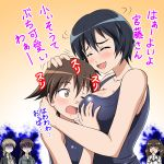 5girls black_hair blue_eyes blush braid brave_witches breast_grab breasts closed_eyes collarbone eyebrows_visible_through_hair georgette_lemare gertrud_barkhorn grabbing gradient gradient_background hiro_yoshinaka hug jealous large_breasts lynette_bishop miyafuji_yoshika multiple_girls one_eye_closed open_mouth orange_background ponytail shimohara_sadako shiny shiny_hair shiny_skin short_hair simple_background smile strike_witches swimsuit swimwear translation_request twintails world_witches_series yuri