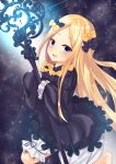 1girl abigail_williams_(fate/grand_order) absurdres bangs black_bow black_dress blonde_hair blue_eyes blush bow dress fate/grand_order fate_(series) forehead glowing hair_bow highres key keyhole long_hair long_sleeves looking_at_viewer multiple_bows open_mouth orange_bow parted_bangs polka_dot polka_dot_bow ribbed_dress sleeves_past_fingers sleeves_past_wrists smile solo staff white_bloomers yagiryu