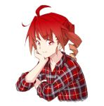 1girl ahoge anco8pizz arm_rest collarbone commentary cropped_torso drill_hair head_rest highres kasane_teto leaning_forward looking_at_viewer looking_to_the_side plaid plaid_shirt red_eyes redhead shirt sitting sleeves_rolled_up smile solo upper_body utau v-shaped_eyebrows white_background