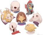 1other 3boys 3girls alphys androgynous animal_ears asgore_dreemurr bangs beard black_tank_top blonde_hair blue_hoodie blue_shirt blue_skin brown_hair closed_eyes closed_mouth crown drawstring eyebrows_visible_through_hair eyepatch facial_hair fangs fins fish_girl frisk_(undertale) glasses goat_ears goat_girl grey_eyes grin head_tilt highres hood hood_down horns long_hair looking_at_viewer mini_crown multiple_boys multiple_girls one_eye_closed open_mouth papyrus_(undertale) ponytail portrait red_eyes red_scarf redhead ryota_(ry_o_ta) sans scarf shirt short_hair signature simple_background skeleton smile toriel undertale undyne white_background white_shirt yellow_sclera yellow_teeth