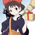 1girl animal bag black_cat black_dress blush bow brown_hair cat closed_mouth commentary_request dress gift hair_bow jiji_(majo_no_takkyuubin) kiki looking_at_viewer majo_no_takkyuubin short_hair smile studio_ghibli yazwo