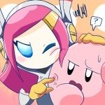 1boy 1girl ? annoyed blue_eyes kirby kirby:_planet_robobot kirby_(series) pink_hair susie_(kirby)