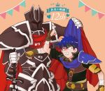 2boys alondite armor black_knight_(fire_emblem) blue_hair cape cape_lift clenched_hand clenched_teeth dot_pupils fire_emblem fire_emblem:_path_of_radiance headband helmet ike_(fire_emblem) juu_satoshi male_focus multiple_boys single_pauldron tears teeth the_king_of_fighters
