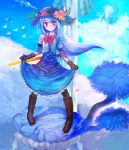1girl bird black_headwear blue_hair blue_skirt boots bow brown_footwear clouds commentary erty113 food frills fruit gloves hat highres hinanawi_tenshi keystone long_hair peach rainbow red_bow red_eyes rope shide shimenawa shirt short_sleeves skirt skirt_hold sky smile solo sword_of_hisou touhou tree water waterfall white_shirt
