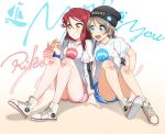 2girls :d :o absurdres alternate_hairstyle arm_around_shoulder backpack badge bag beanie black_headwear blue_eyes blue_shorts blush button_badge character_name clothes_writing grey_hair group_name gym_shorts hair_between_eyes hair_ornament hairclip hat headwear_writing high_tops highres long_hair long_sleeves love_live! love_live!_sunshine!! multiple_girls open_mouth pink_shorts redhead sakurauchi_riko shirt shoes short_over_long_sleeves short_shorts short_sleeves short_twintails shorts sitting smile sweatband t-shirt twintails watanabe_you white_footwear white_shirt yellow_eyes yuchi_(salmon-1000) yuri