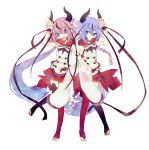 2others asymmetrical_sleeves black_legwear blue_eyes blue_hair blue_nails bow braided_tail bridal_gauntlets bridal_legwear crossed_arms double-breasted expressionless hair_tie hand_up highres horns long_hair looking_at_another looking_at_viewer looking_to_the_side meika_hime meika_mikoto mismatched_legwear miwasiba multicolored_hair multiple_others nail_polish official_art open_mouth pink_eyes pink_hair red_bow red_legwear red_nails red_ribbon red_skirt ribbon see-through shide shirt skirt sleeveless sleeveless_shirt smile symmetry toes transparent_background twintails very_long_hair vocaloid white_shirt wide_sleeves wrist_cuffs