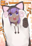 +_+ 1girl :d animal_costume animal_ears animal_hood arms_up bangs blush cat_costume cat_ears cat_hood dark_skin drawstring eyebrows_visible_through_hair fake_animal_ears fate/prototype fate/prototype:_fragments_of_blue_and_silver fate_(series) hair_between_eyes hassan_of_serenity_(fate) hood hood_up i.u.y open_mouth purple_hair round_teeth smile solo teeth translated upper_teeth v-shaped_eyebrows violet_eyes
