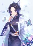 1girl animal bangs belt belt_buckle black_hair black_jacket black_pants blue_background breasts buckle bug butterfly butterfly_hair_ornament commentary_request eyebrows_visible_through_hair forehead gradient_hair hair_ornament highres insect jacket katana kimetsu_no_yaiba kochou_shinobu long_sleeves multicolored_hair open_clothes pants parted_bangs purple_hair seungju_lee sheath sheathed simple_background small_breasts solo sword violet_eyes weapon white_belt wide_sleeves