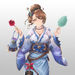 1girl alternate_costume alternate_hairstyle bag beatrix_(granblue_fantasy) blue_kimono blush breasts brown_eyes brown_hair candy_apple collarbone commentary_request cotton_candy eyebrows_visible_through_hair food granblue_fantasy hair_up handbag holding holding_food japanese_clothes kimono large_breasts looking_at_viewer smile solo yukata yuki7128