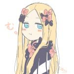 1girl :t abigail_williams_(fate/grand_order) bangs black_bow black_dress blonde_hair blue_eyes blush_stickers bow closed_mouth dress eyebrows_visible_through_hair fate/grand_order fate_(series) forehead hair_bow highres long_hair looking_at_viewer looking_to_the_side no_hat no_headwear orange_bow parted_bangs pout signature simple_background sofra solo upper_body very_long_hair white_background