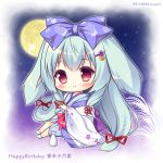 1girl alcohol animal_ears bangs blue_bow blue_hair blue_kimono blush bow character_name chibi closed_mouth commentary_request cup eyebrows_visible_through_hair flower full_body full_moon hair_between_eyes hair_bow hair_flower hair_ornament hair_ribbon hairclip happy_birthday japanese_clothes kimono long_hair long_sleeves low-tied_long_hair moon night night_sky open_clothes purple_flower rabbit_ears red_eyes red_ribbon ribbon ryuuka_sane sakazuki sake sidelocks sitting sky smile socks solo star_(sky) starry_sky tarumi_konoha tokkuri twitter_username very_long_hair white_legwear wide_sleeves yorite_konoha_wa_kurenai_ni
