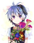 1girl absurdres berry bouquet calla_lily collar commentary dress flower flower_(vocaloid) highres holding holding_bouquet leaf lily_(flower) looking_at_viewer morning_glory multicolored_hair note55885 pinafore_dress purple_dress purple_hair shirt shirt_under_dress short_hair short_sleeves smile solo streaked_hair sunflower upper_body violet_eyes vocaloid white_hair white_shirt