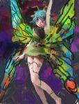1girl arm_up blue_hair butterfly_wings dress eternity_larva green_dress highres leaf plant red_eyes touhou vines wings
