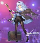 1girl absurdres bangs black_footwear black_gloves black_hairband black_legwear black_skirt blue_hair camouflage character_name closed_mouth collared_shirt commentary dabuki full_body girls_frontline gloves guitar hair_between_eyes hairband highres holding holding_instrument instrument jacket long_hair long_sleeves looking_at_viewer neck_ribbon off_shoulder pantyhose red_eyes red_ribbon ribbon shirt shoes simple_background skirt solo standing thigh_strap thunder_(girls_frontline)