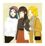 3girls :d alternate_hairstyle azuma_(no488888) bag bangs baseball_cap beige_background black_hair black_shirt blonde_hair blue_hair braid brown_coat brown_headwear brown_skirt clothes_writing coat collared_shirt crown_braid earrings green_eyes grey_shirt hair_down hair_over_shoulder hair_rings hat holding_strap jewelry kurosawa_dia looking_at_viewer love_live! love_live!_sunshine!! matsuura_kanan mole mole_under_mouth multiple_girls ohara_mari open_mouth shirt shoulder_bag sidelocks single_braid skirt sleeves_past_wrists smile turtleneck violet_eyes white_shirt yellow_eyes