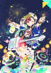 1girl arms_up blush brown_hair collar electric_guitar fireworks glasses guitar headphones hghrttm highres instrument multicolored multicolored_clothes multicolored_eyes original shoes