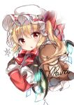 1girl artist_name bangs black_gloves blonde_hair blush bow bowtie commentary_request crystal eyebrows_visible_through_hair flandre_scarlet gloves hair_between_eyes hat hat_bow highres jacket long_hair long_sleeves looking_at_viewer mob_cap one_side_up open_mouth partial_commentary raina_017 red_bow red_eyes red_jacket signature simple_background sketch snowflakes solo stuffed_animal stuffed_toy teddy_bear touhou upper_body white_background white_headwear wings