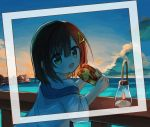 1girl :d bangs blue_sky brown_eyes brown_hair clouds commentary_request dress eyebrows_visible_through_hair food hair_between_eyes hair_ornament holding holding_food hood hood_down horizon lantern looking_at_viewer looking_to_the_side ocean open_mouth original outdoors railing sandwich sky smile solo sunrise water white_dress wide_sleeves yuuhagi_(amaretto-no-natsu)