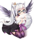 1girl animal_ears animal_print bare_shoulders bat_print black_dress black_wings blade_&_soul blue_eyes choker commentary_request commission covering_mouth dress feathered_wings glasses libix long_hair lyn_(blade_&_soul) ponytail print_legwear purple_legwear silver_hair simple_background sitting smile solo strapless strapless_dress striped striped_dress tail tail_hold thigh-highs very_long_hair white_background wings wolf_ears wolf_tail